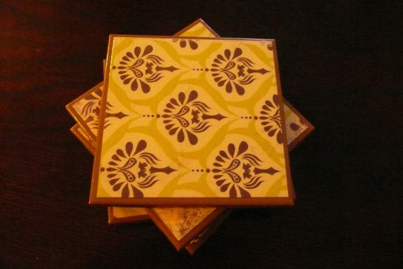 Ceramic Coasters - Vintage-Look Green and Brown Damask Pattern  - Set of Four Coasters