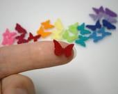 Teeny felt butterflies - rainbow pack 24