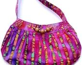 Small Purse, Fabric Handbag,Multicolored Batik  Purple Pink