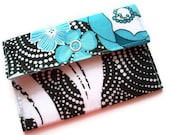 Gift Card Holder, Snap Wallet, Blue and White Swirls