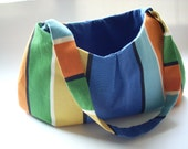Hobo Purse, Fabric Handbag, Color Block Stripe