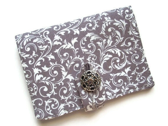 Travel Tea Wallet, Grey and White Swirl Tea Book