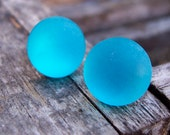 Neon Turquoise Frosted Stud Earrings. Round. Handmade.