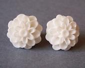 White Bridal Dahlia Flower Studs.  14mm.