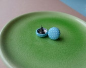 Turquoise Polka Dot Vintage Fabric Covered Button Stud Earrings. Buy 2 Get 1 Free.