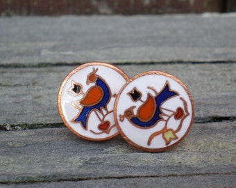 Sale!! Buy 1 item and get the second item 90% off. Happiness and Good Luck Wishes. Earrings. Studs. Bird. 11mm Post Earrings. Copper Style