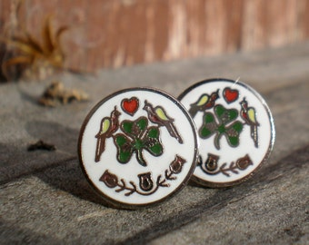Dutch Irish Traditional Good Luck Stud Earrings. Post Earrings. Vintage components. Silver Style 11mm
