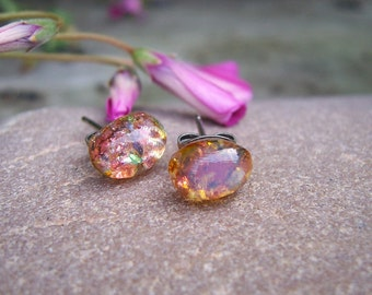 Sale!! Buy 1 item and get the second item 90% off. Vintage Harlequin Fire Opal. Stud Earrings Oval 8x6mm. Studs. Post Earrings.