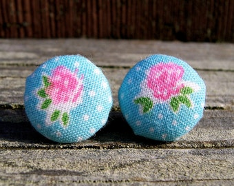 Dainty Rose. Pink and Turquoise Fabric Covered Button Stud Earrings. Polka Dot Fabric Post Earrings