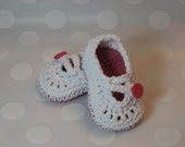 Baby Girl Mary Jane Baby Shoes with Cross Strap Crocheted in White and Rose Pink-New With Better Fit