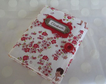 Photo Album Personalized Brag Book - Red and Pink Floral Girls at Play Fabric-Holds 48 Pictures