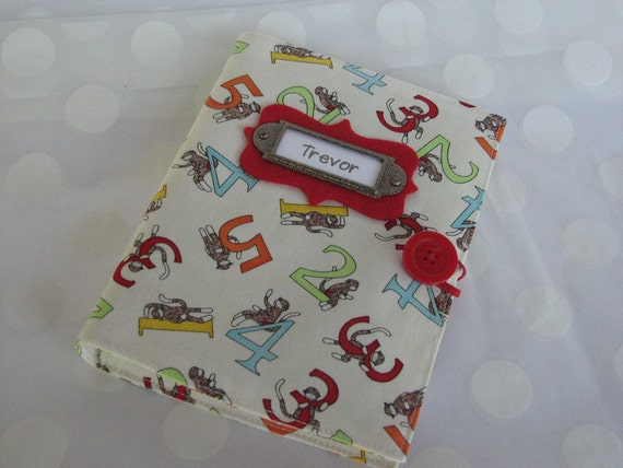 Sock Monkey Photo Album Personalized Brag Book holds 48 Pictures
