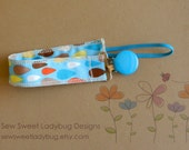 Soothie Fabric Pacifier Clip in Raindrops READY TO SHIP!!