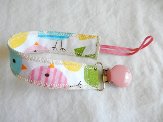 Soothie Fabric Pacifier Clip in Robert Kaufman Fabric by Ann Kelle Birds in Spring Urban Zoologie Part 2 Girl Pacifier Clip Ready to Ship