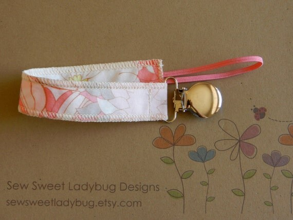 Soothie Fabric Pacifier Clip in Art Gallery Fabric by Pat Bravo Coquette in Flower Bed Girl Pacifier Clip Ready to Ship