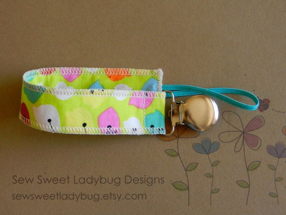 Soothie Fabric Pacifier Clip in Michele D' Amore Fabric Floralicious leaf vine Girl Pacifier Clip Ready to Ship