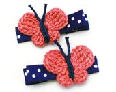Pink Crochet Butterfly Hair Clip, One Pair