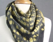 "Hand Dyed Gold Charcoal Gray Shibori Silk Scarf 34"" Sq Crepe de Chine Ancient Relic READY TO SHIP"