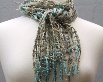 Hand Dyed, Felted and Beaded Open Lattice Scarf Soft Silk Merino Wool Blend Sand Sea Beach