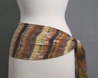 Boho Stripe Scarf Hand Dyed Shibori Silk Crepe Autumn Brown Pumpkin Toffee Gold