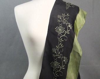 Long Silk Scarf Hand Dyed Shibori Hand Painted Black Green Floral Vine