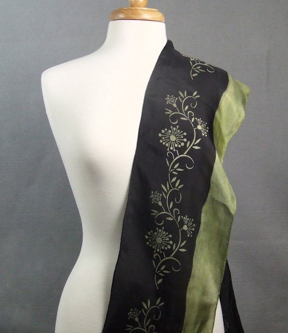 Long Silk Scarf Hand Dyed Shibori Hand Painted Black Green Floral Vine