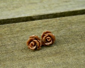 Chocolate Brown Mini Rose Earrings Perfect for Summer