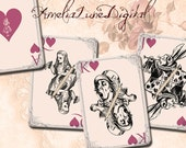 Alice in Wonderland Playing Cards Hearts printable digital Collage Sheet nr 101