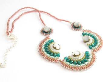 Pink & emerald Beaded Necklace with white cat eye stones