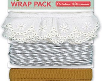 75% Off - October Afternoon Farmhouse Wrap Pack - Scrapbook Ribbon & Bakers Twine -- MSRP 5.00