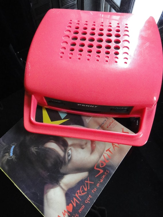 RARE Vintage 1970s Portable Pink Vinyl Record Player  with Carry Handle
