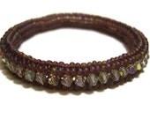 Bead Woven Bangle Bracelet : Purple Seed Bead Bracelet, Beadwork Bracelet, UK Seller