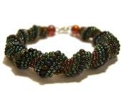 Dark Green Spiral Bracelet : Seed Beaded Rope Bracelet, Seed Bead Bracelet, Bead Woven Jewlery UK