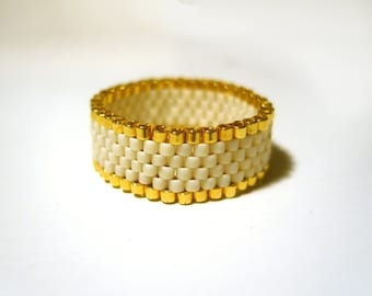 Seed Bead Ring : 24K Gold Plated Beaded Ring Delica 24ct Gold Seed Bead