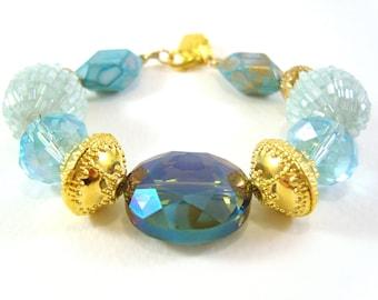 Chunky Blue Bead Bracelet: Turquoise & Gold Beaded Bracelet, Statement Bracelet, UK Seller