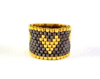 Gold Heart Ring, Seed Bead Ring, Gold and Black Beaded Ring, Heart Jewelry, UK Seller