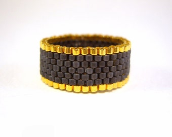 Seed Bead Ring, Matte Black Beaded Ring, Black and Gold Jewelry, UK Seller