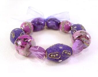 Chunky Bead Bracelet: Purple Beaded Bracelet, Lilac Jewelry, Stretch Bracelet UK Seller