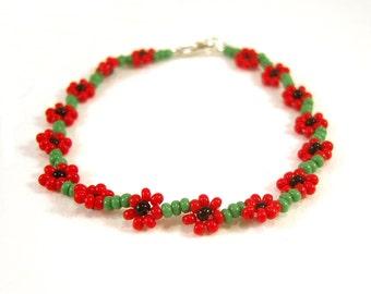 Childrens Bracelet, Poppy Bracelet, Little Girls Bracelet, Beaded Red Flower Bracelet, Childrens Jewelry UK