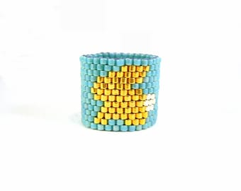 Bunny Rabbit Ring: Beaded Turquoise Ring, Gold Bunny Ring, Kitsch Jewellery UK Seller