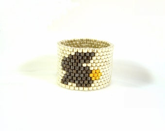 Easter Rabbit Ring: Silver Beaded Bunny Ring Seed Bead Ring Beaded Jewelry UK Seller
