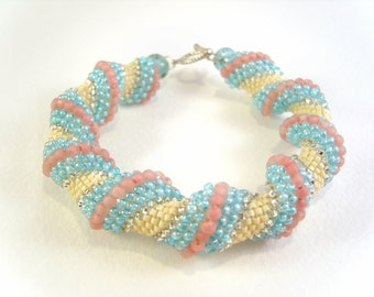 Pastel Cellini Spiral Bracelet: Beaded Turquoise & Pink Seed Bead Bracelet