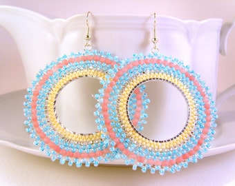 Large Hoop Earrings: Pastel Seed Bead Earrings Beaded Hoops