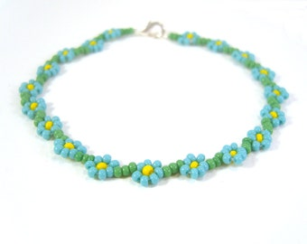Fashion Jewelry: Turquoise Flower Friendship Bracelet, Seed Bead Flower Bracelet UK Seller