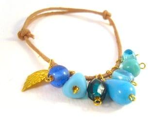 Faux Leather Cord Bracelet, Blue Bead Bracelet, Adjustable Bracelet, Beaded Jewellery, UK Seller