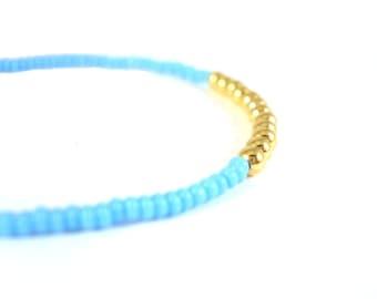 Beaded Friendship Bracelets, Stacking Bracelets, Blue Seed Bead Jewelry, Fashion Bracelets