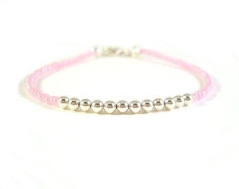 Pastel Pink Bead Bracelet, Layering Bracelet, Silver Bead Bracelet UK Seller