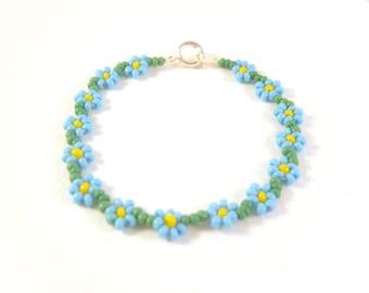 Childrens Flower Bracelet, Blue Flower Girl Bracelet, Childs Floral Bracelet, Little Girls Jewelry UK