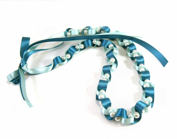 Pearl and Ribbon Necklace: Blue & Turquoise Glass Pearl Beaded Necklace UK Seller