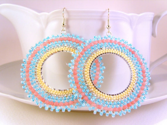 Dangly Hoop Earrings, Pastel Bead Earrings, Seed Beaded Earrings, UK Earrings
